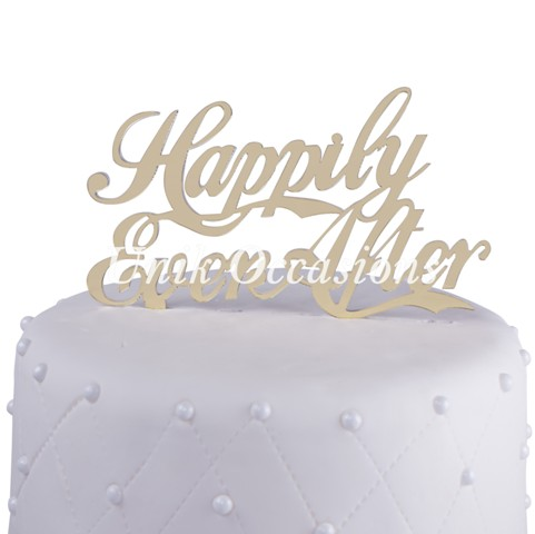 Unik Occasions Happily Ever After Acrylic Wedding Cake Topper, Gold Mirror
