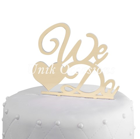 Unik Occasions We Do Acrylic Wedding Cake Topper, Gold Mirror
