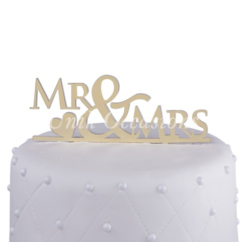 Unik Occasions Mr & Mrs Acrylic Wedding Cake Topper with Heart, Gold Mirror