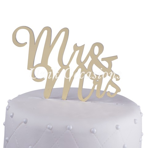 Unik Occasions Mr & Mrs Acrylic Wedding Cake Topper Script, Gold Mirror