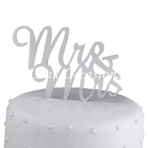 Unik Occasions Mr & Mrs Acrylic Wedding Cake Topper Script, Silver Mirror