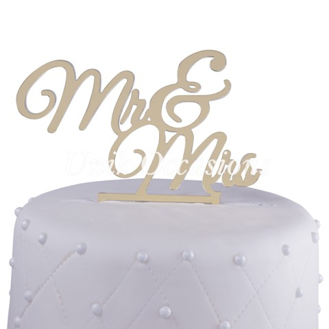 Unik Occasions Mr & Mrs Acrylic Wedding Cake Topper New, Gold Mirror