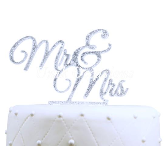 Unik Occasions Mr & Mrs Elegant Acrylic Cake Topper, Silver Glitter
