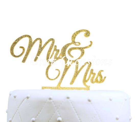 Unik Occasions Mr & Mrs Elegant Acrylic Cake Topper, Gold Glitter