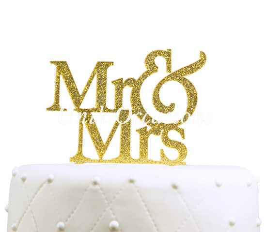 Unik Occasions Mr & Mrs Large Acrylic Cake Topper, Gold Glitter
