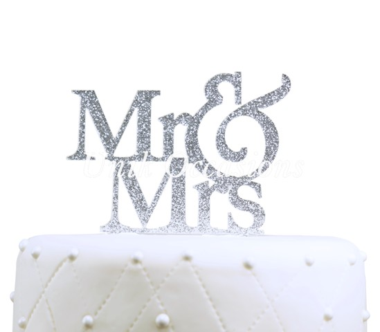 Unik Occasions Mr & Mrs Large Acrylic Cake Topper, Silver Glitter