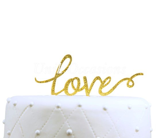 Unik Occasions Love Acrylic Wedding Cake Topper, Gold Glitter