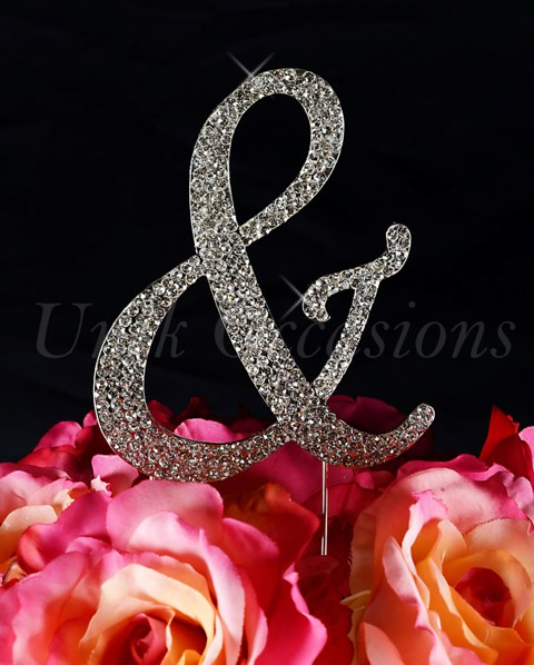 Unik Occasions Sparkling Collection Monogram Cake Topper Ampersand, Silver, Large