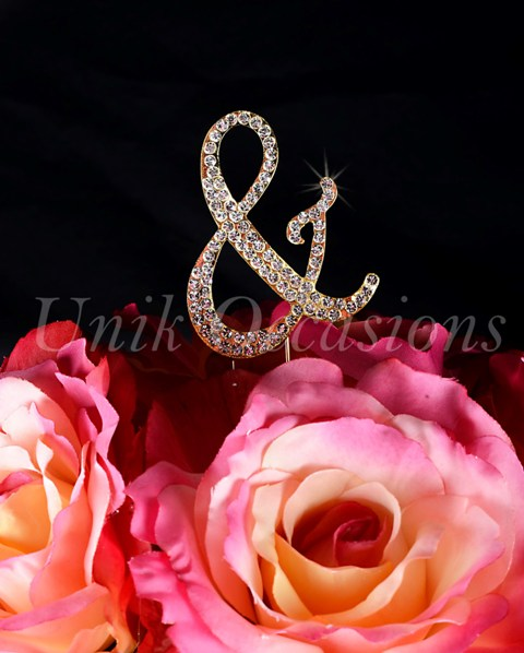 Unik Occasions Sparkling Collection Monogram Cake Topper Ampersand, Gold, Small
