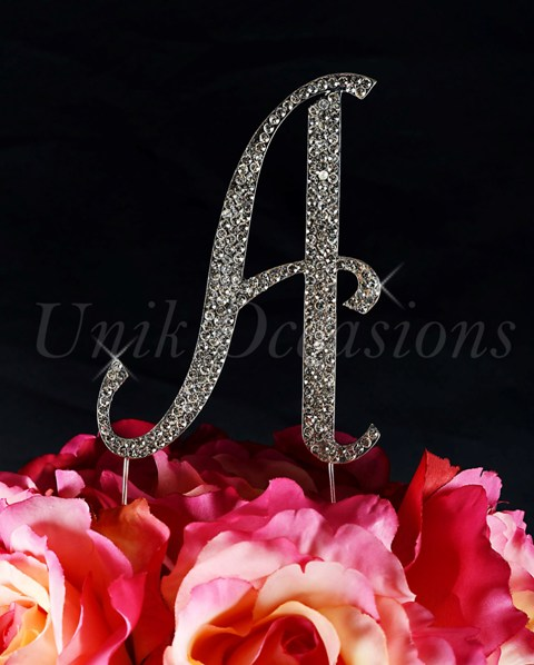 Unik Occasions Sparkling Collection Monogram Cake Topper Letter A, Silver, Small