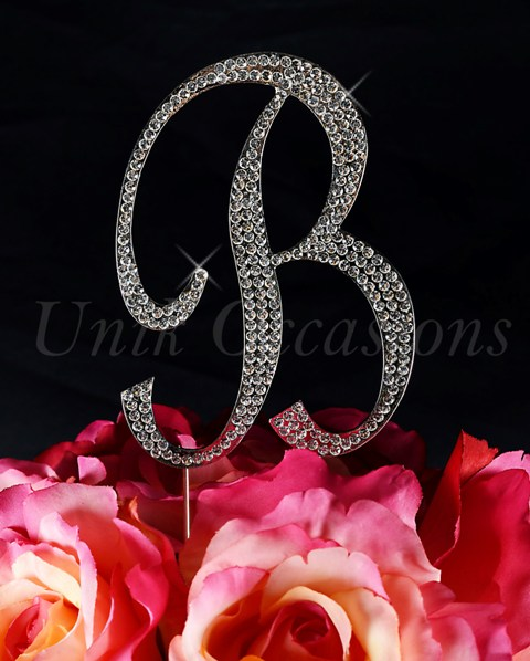 Unik Occasions Sparkling Collection Monogram Cake Topper Letter B, Silver, Large