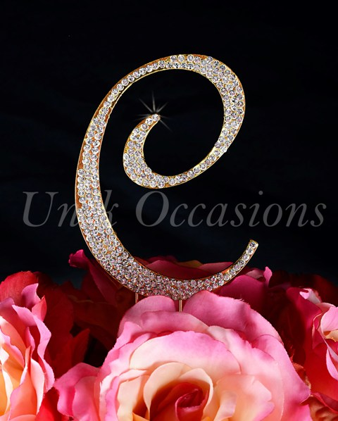 Unik Occasions Sparkling Collection Monogram Cake Topper Letter C, Gold, Small