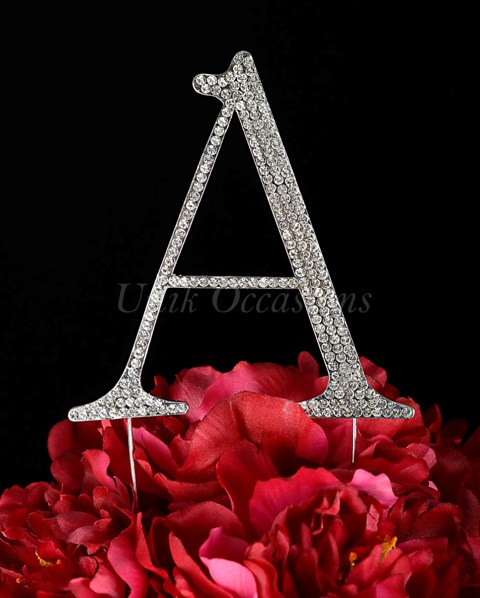 Unik Occasions Rhinestone Wedding Cake Topper Letter A, Silver, Large