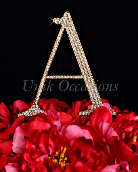 Unik Occasions Rhinestone Wedding Cake Topper Letter A, Gold, Large
