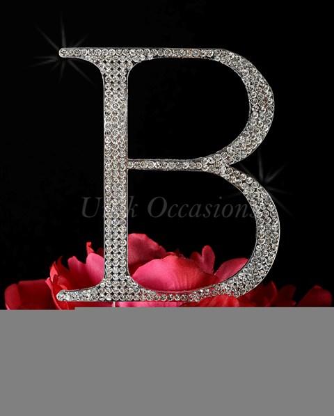 Unik Occasions Rhinestone Wedding Cake Topper Letter B, Silver, Large