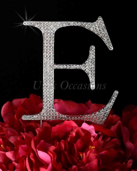 Unik Occasions Rhinestone Wedding Cake Topper Letter E, Silver, Large