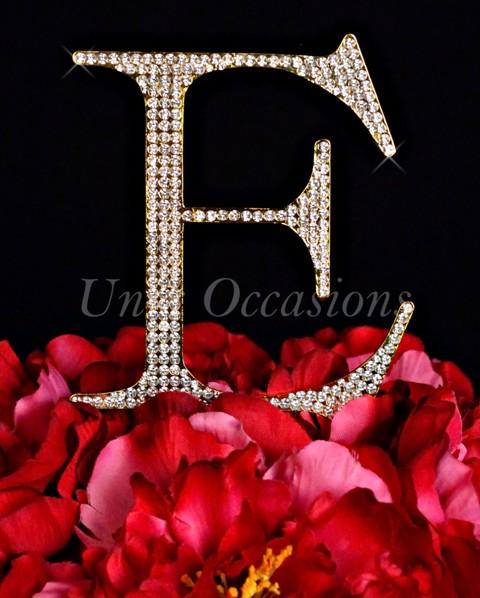 Unik Occasions Rhinestone Wedding Cake Topper Letter E, Gold, Large