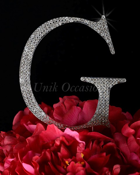 Unik Occasions Rhinestone Wedding Cake Topper Letter G, Silver, Large