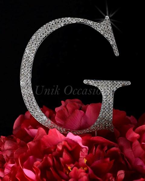 Unik Occasions Rhinestone Wedding Cake Topper Letter G, Silver, Large