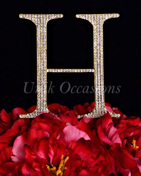 Unik Occasions Rhinestone Wedding Cake Topper Letter H, Gold, Large