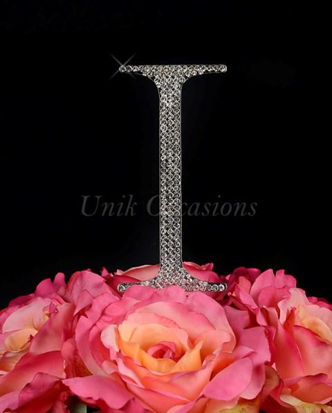 Unik Occasions Rhinestone Wedding Cake Topper Letter I, Silver, Large