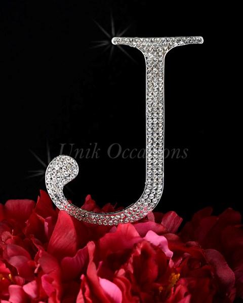 Unik Occasions Rhinestone Wedding Cake Topper Letter J, Silver, Large