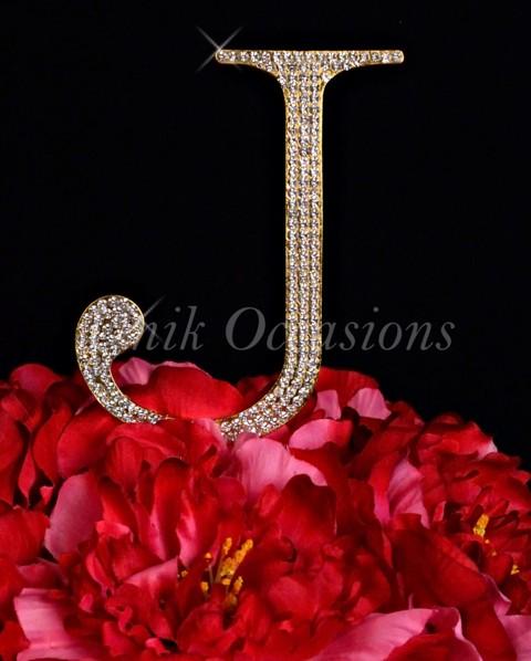 Unik Occasions Rhinestone Wedding Cake Topper Letter J, Gold, Large
