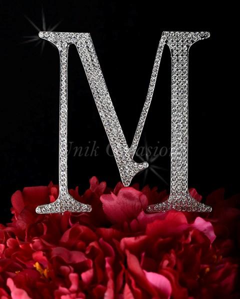 Unik Occasions Rhinestone Wedding Cake Topper Letter M, Silver, Large