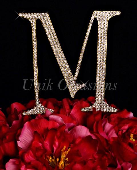 Unik Occasions Rhinestone Wedding Cake Topper Letter M, Gold, Large