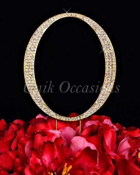 Unik Occasions Rhinestone Wedding Cake Topper Letter O, Gold, Large