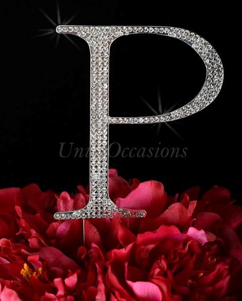 Unik Occasions Rhinestone Wedding Cake Topper Letter P, Silver, Large