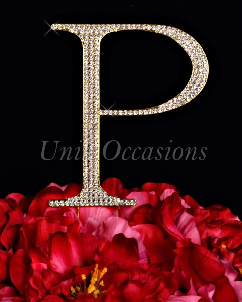 Unik Occasions Rhinestone Wedding Cake Topper Letter P, Gold, Large
