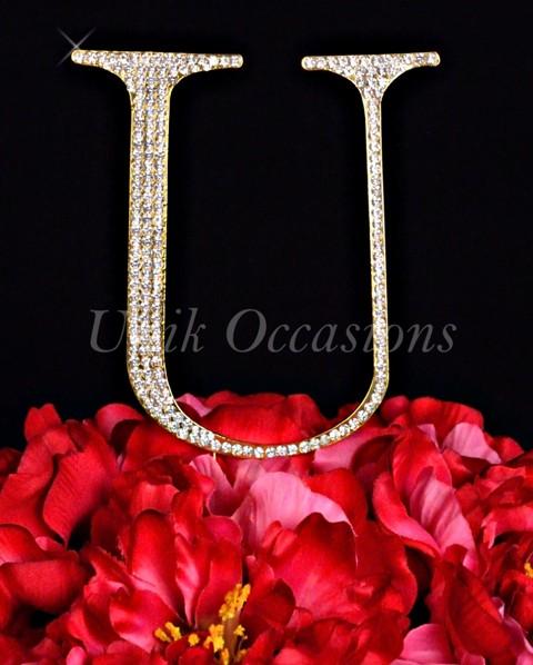 Unik Occasions Rhinestone Wedding Cake Topper Letter U, Gold, Large