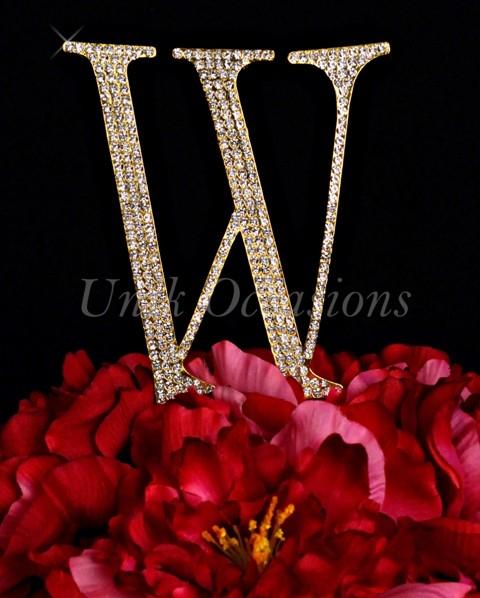 Unik Occasions Rhinestone Wedding Cake Topper Letter W, Gold, Large