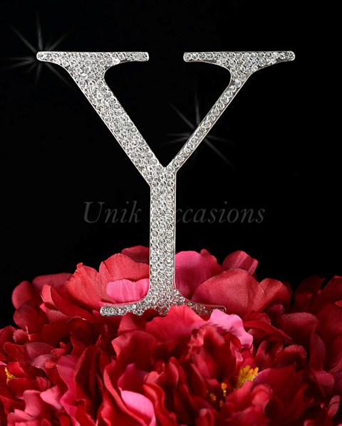 Unik Occasions Rhinestone Wedding Cake Topper Letter Y, Silver, Large