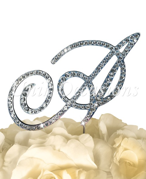 Unik Occasions Victorian Rhinestone Wedding Cake Topper Letter A, Silver, Large