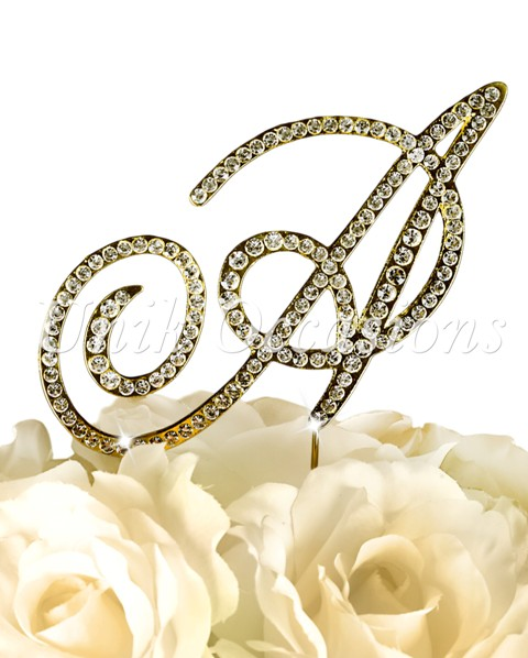 Unik Occasions Victorian Rhinestone Wedding Cake Topper Letter A, Gold, Small