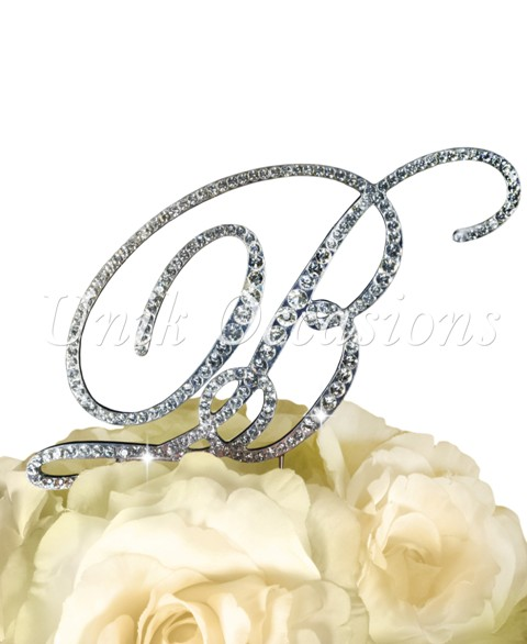 Unik Occasions Victorian Rhinestone Wedding Cake Topper Letter B, Silver, Large