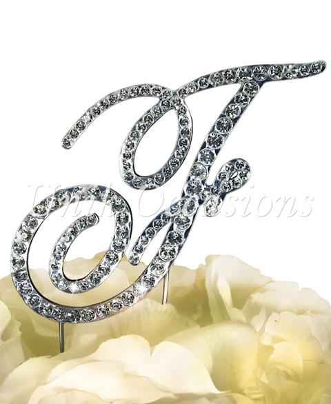 Unik Occasions Victorian Rhinestone Wedding Cake Topper Letter F, Silver, Small