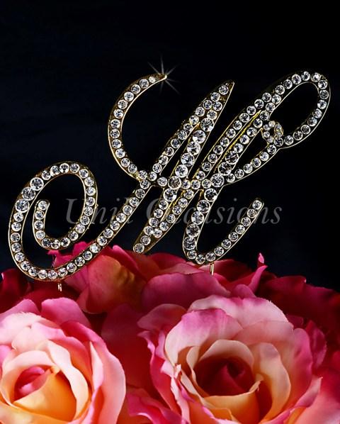 Unik Occasions Victorian Rhinestone Wedding Cake Topper Letter M, Gold, Large