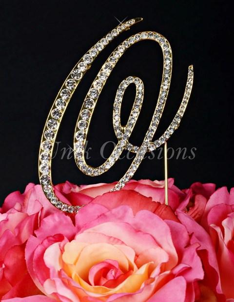 Unik Occasions Victorian Rhinestone Wedding Cake Topper Letter O, Gold, Large