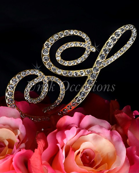 Unik Occasions Victorian Rhinestone Wedding Cake Topper Letter S, Gold, Large