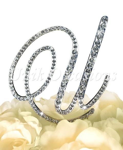 Unik Occasions Victorian Rhinestone Wedding Cake Topper Letter U, Silver, Small