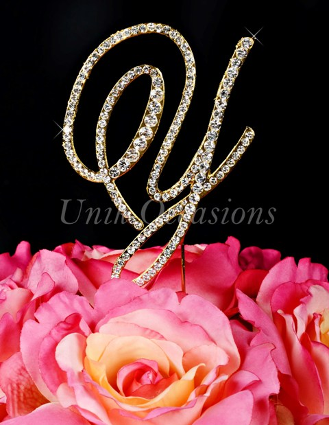 Unik Occasions Victorian Rhinestone Wedding Cake Topper Letter Y, Gold, Large