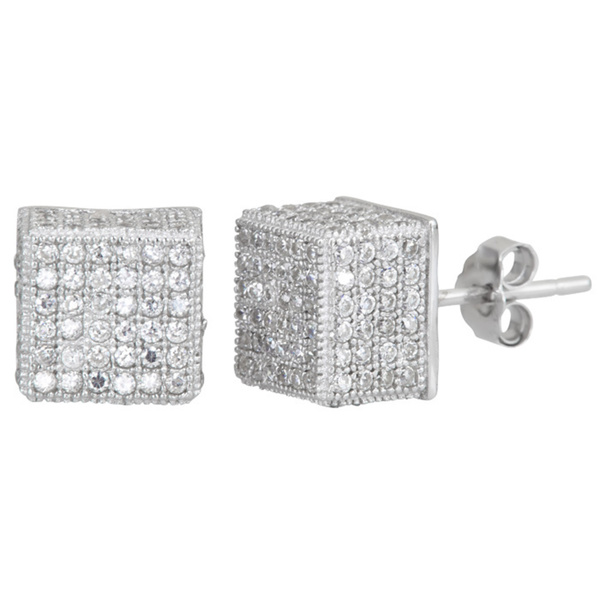 YGI Group SSE201 Sterling Silver Cube Micropave Stud Earrings With Cubic Zirconia