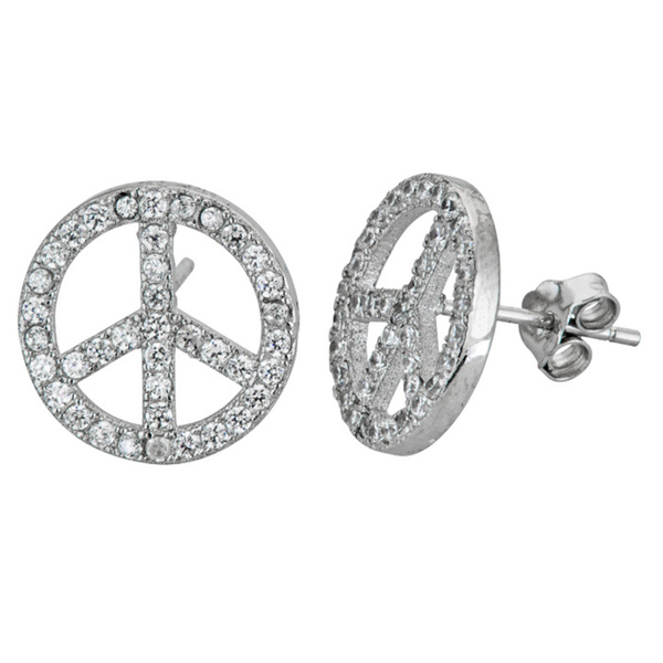 YGI GroupSSE301 Micropave Peace Stud Earring with Cubic Zirconia