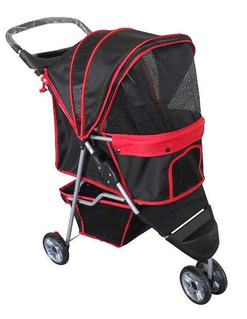 AmorosO 6571 Pet Jogging Stroller, 6 Wheel - Black & Red