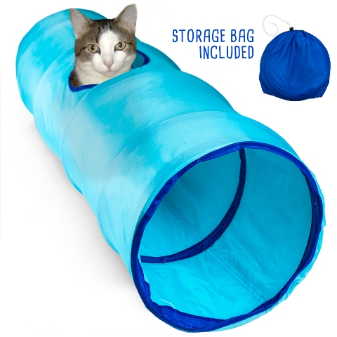 BrybellyHoldings ACTN-102 36 in. Blue Krinkle Collapsible Cat Tunnel With Peek Hole And Storage Bag