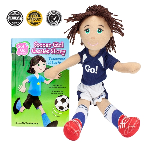 BrybellyHoldings TDBT-01 Soccer Girl Cassie Read & Play Doll And Book Set