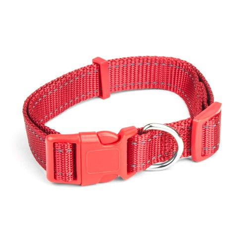 BrybellyHoldings ACLR-201 Large Adjustable Reflective Dog Collar - Red
